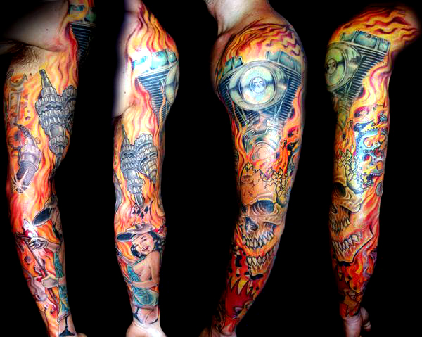 Epicdermis tattoo studio for Motorcycle tattoo sleeve